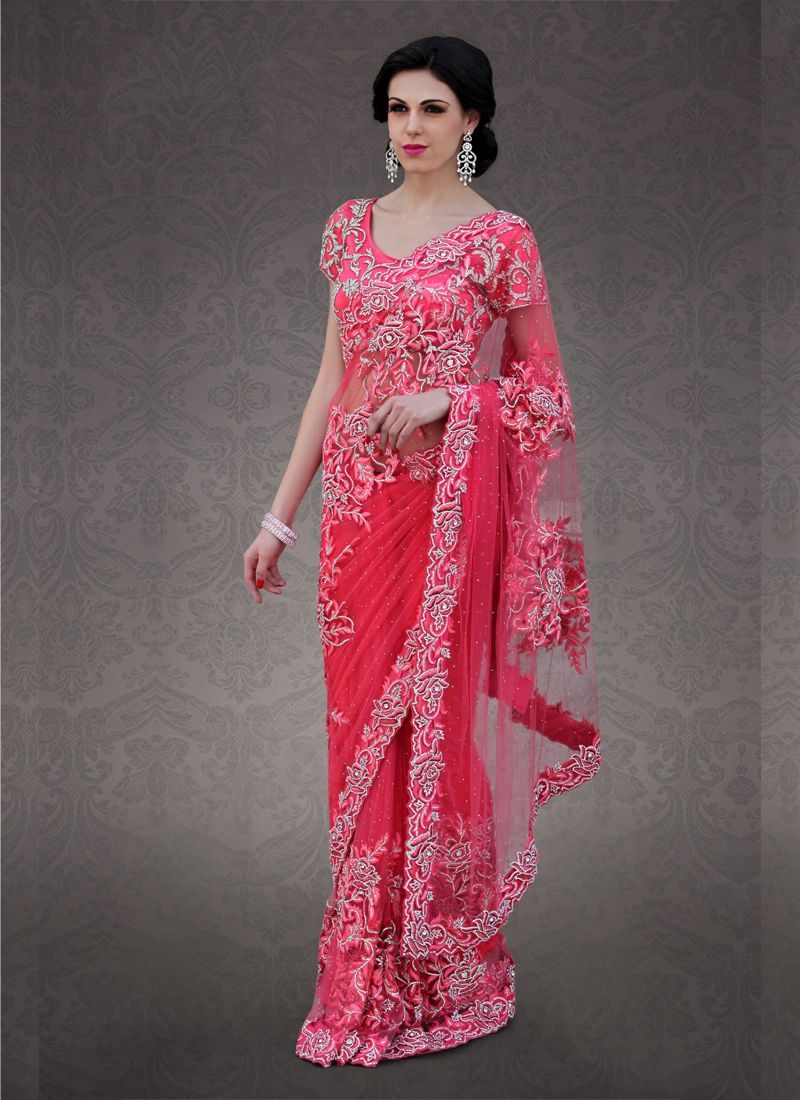 Red Shade #Net Saree can i have the price of this saree? | Too hot ...