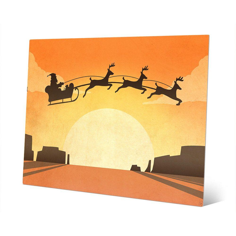 Horizon Desert Sleigh Western Christmas Wall Art on Metal | Products ...