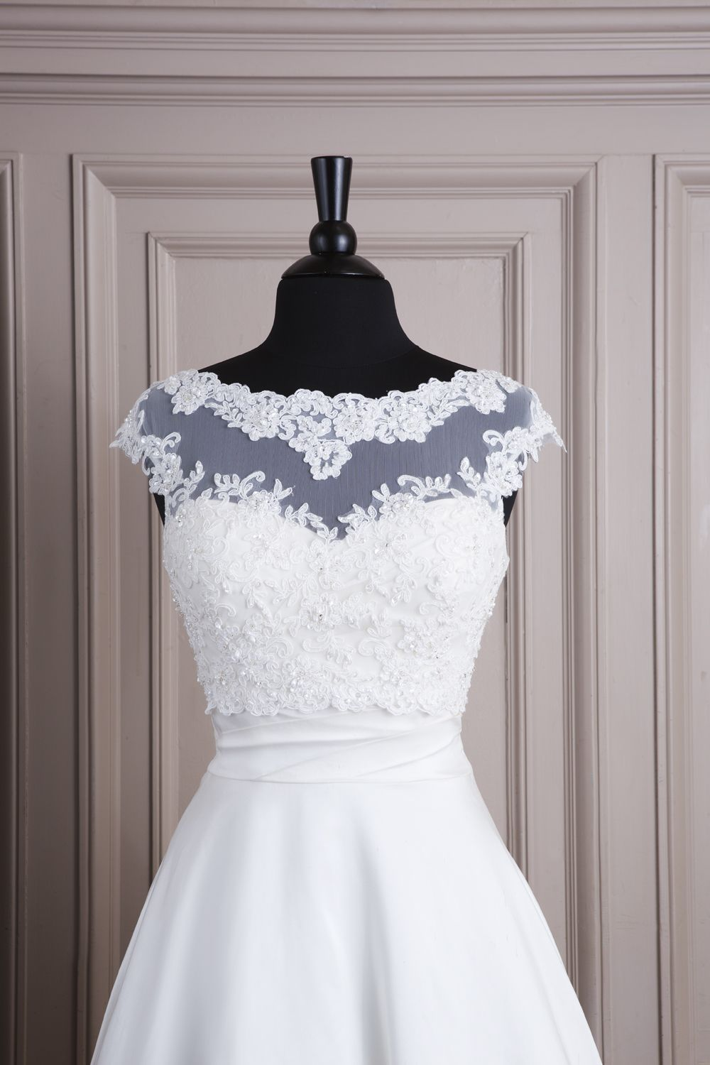 6830f73f05b Justin Alexander wedding accessories style A061 Lace and tulle jacket with  bateau neckline