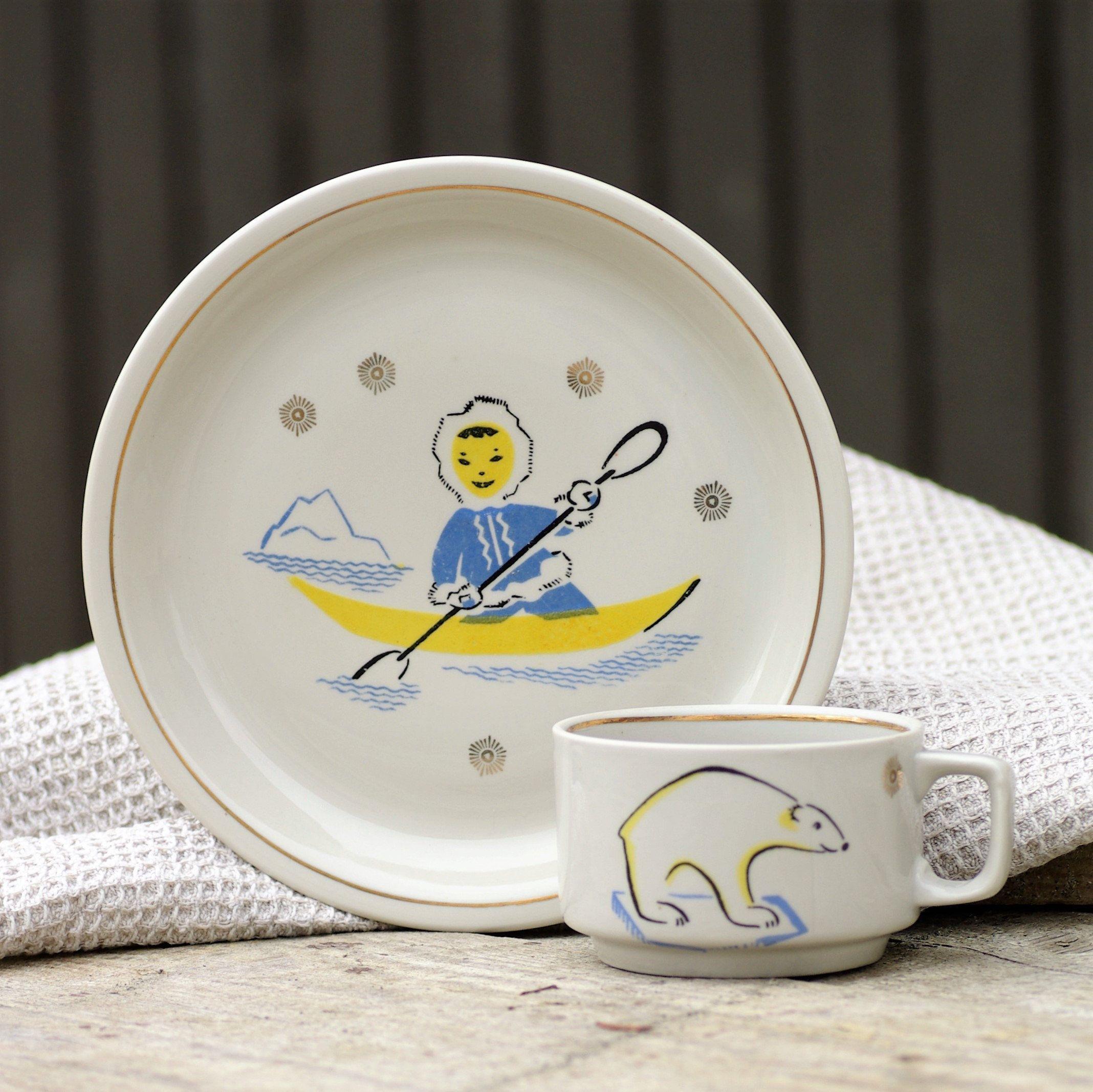Soviet Kids Plate And Mug Set With Polar Pattern Childrens Kids Tableware With Eskimo Inuite Boy And White Bear Dinnerware For Kids Kids Tableware Kids Plates Mugs Set