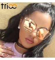 Óculos de Sol Feminino Trioo Espelhado Luxo Designer   Óculos de Sol ... ece2f1f30e