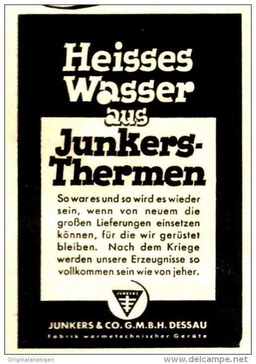 Original-Werbung/ Anzeige 1943 - JUNKERS THERMEN / DESSAU - ca. 45 x 65 mm