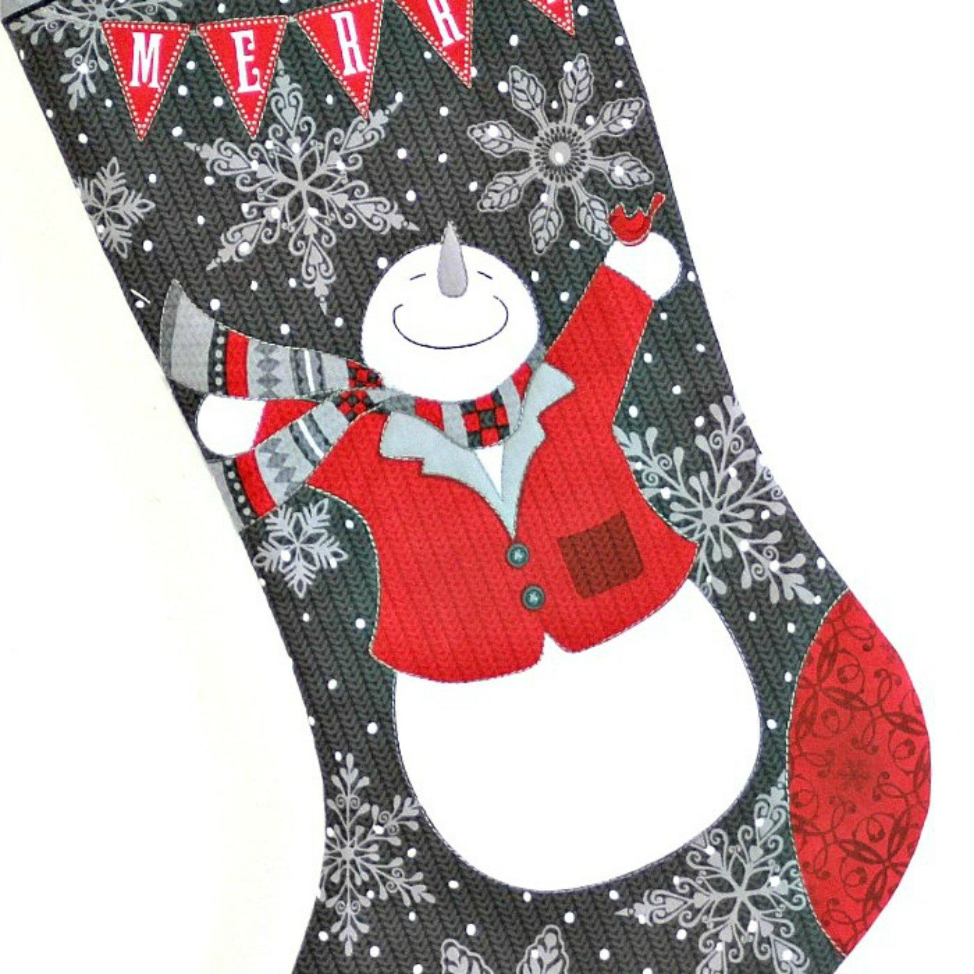 Snowman Christmas Stocking, Quilted Children Sock ...