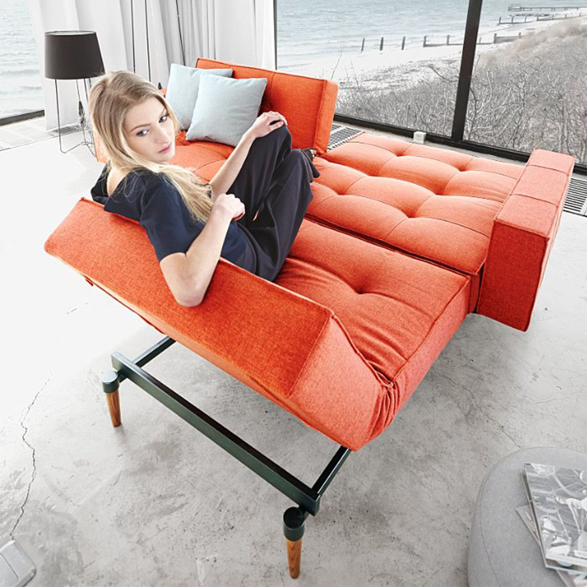 Kind Of Loving This Convertible Modern Futon Split Back Sofa With Arms Orange