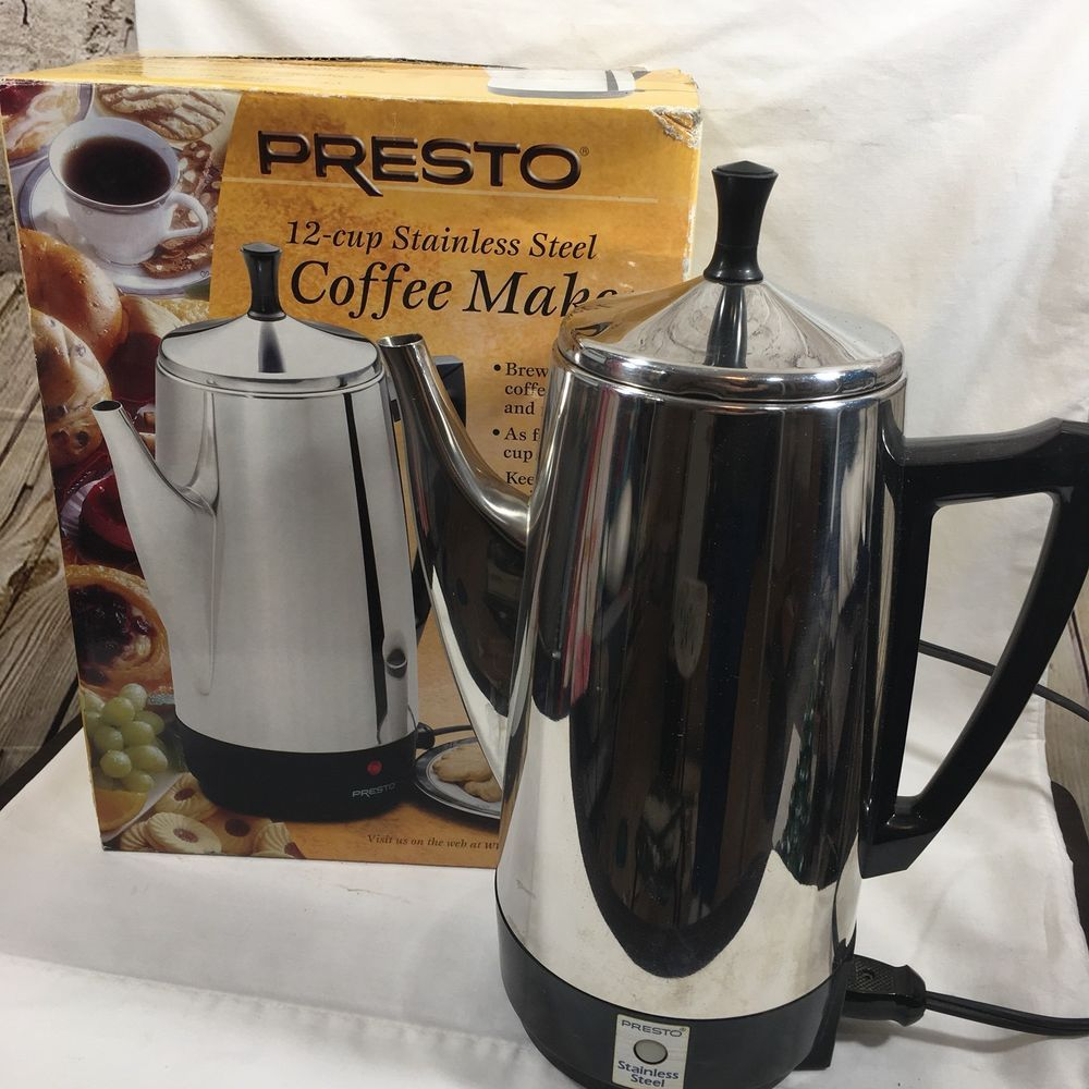 Presto 12 Cup Stainless Steel Electric Coffee Maker With Box 02811 Presto Percolator Coffee Maker Electric Coffee Maker Stainless Steel Coffee