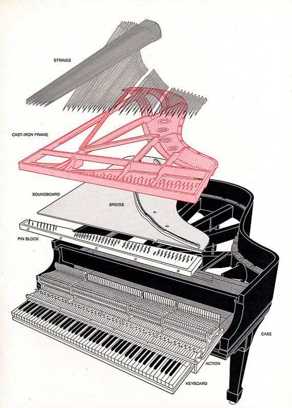1979 EXPLODED GRAND PIANO • Steinway Technical Drawing Illustrated ...