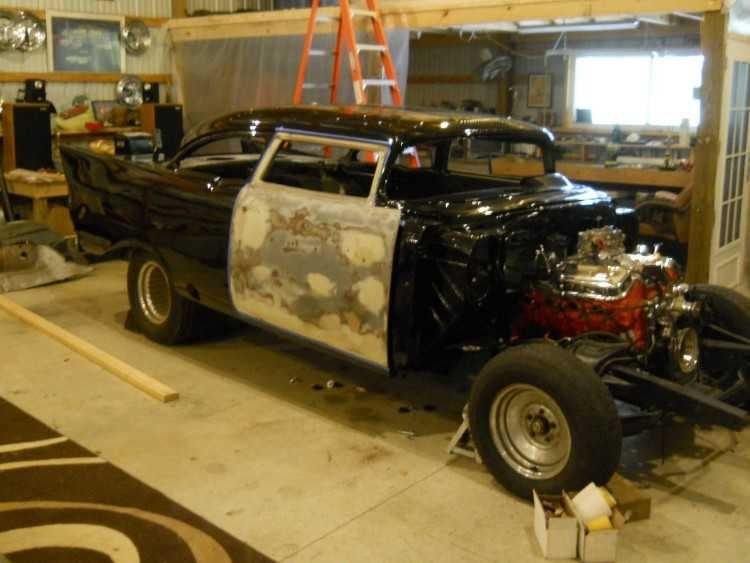 I Have A Radical Custom Pro Street 57 Chevy Project It Has A 3 1 2f2 In Chop Top 2c Back Fin 27s Have Been Raised 3 In 2c It H Chevy Projects Light Building