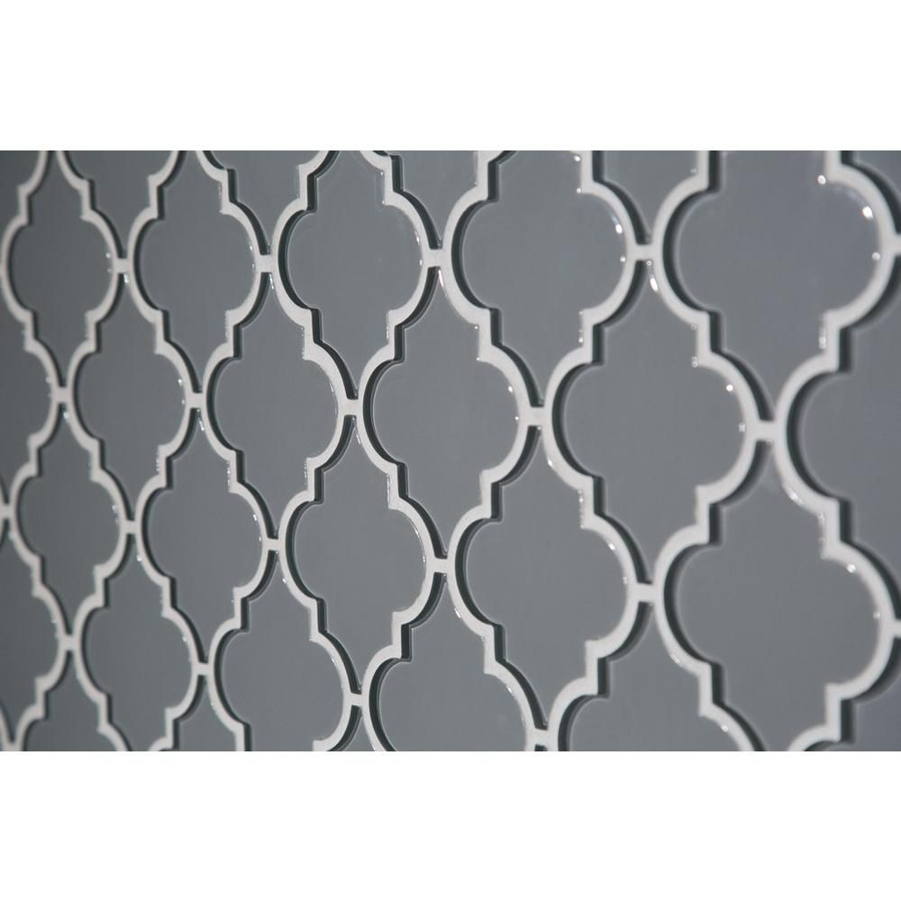 Floor And Decor Arabesque Tile Arabesque Fleur Gray Water Jet Cut Glass Mosaic  Cut Glass Tile