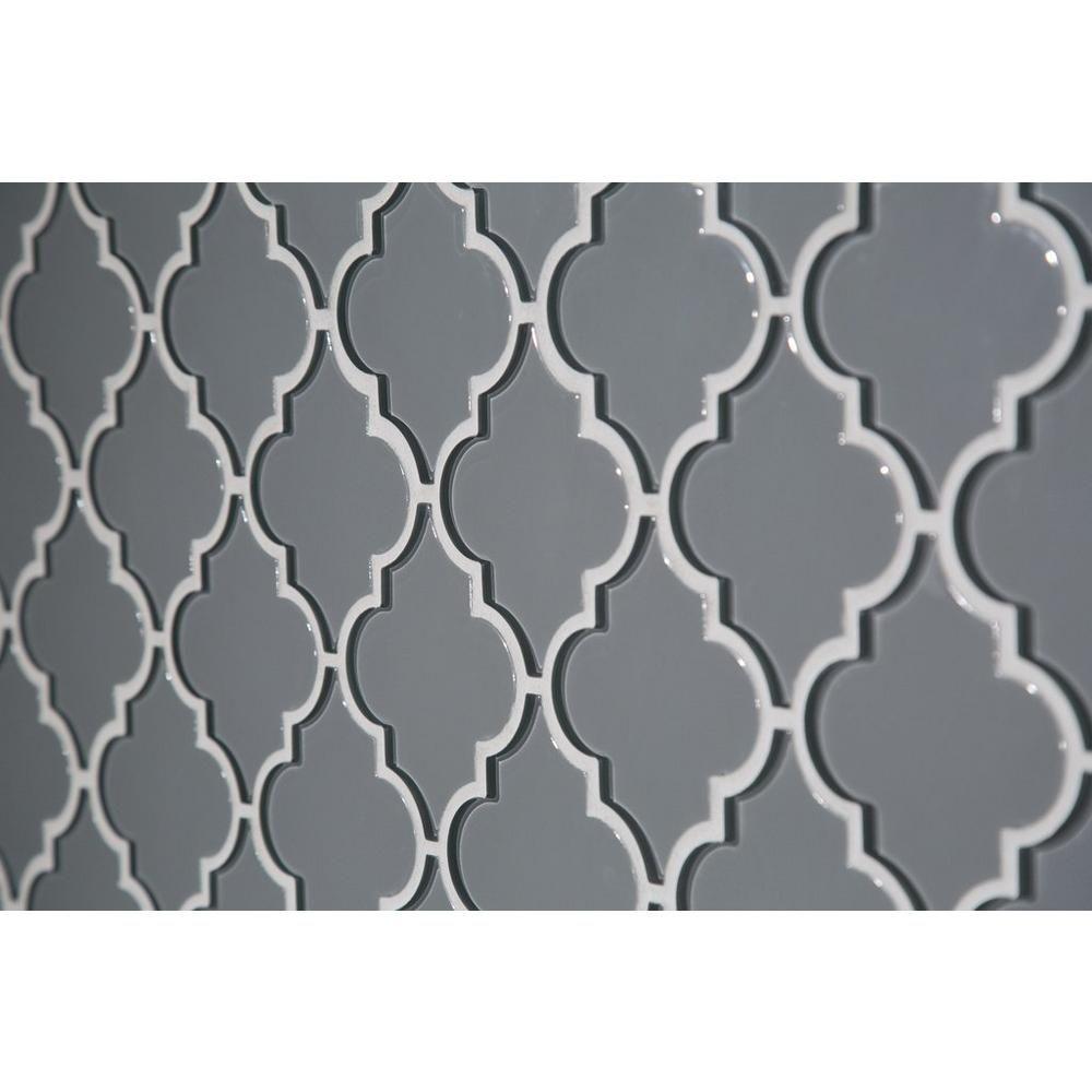 Arabesque Fleur Gray Water Jet Cut Glass Mosaic 10in X 13in