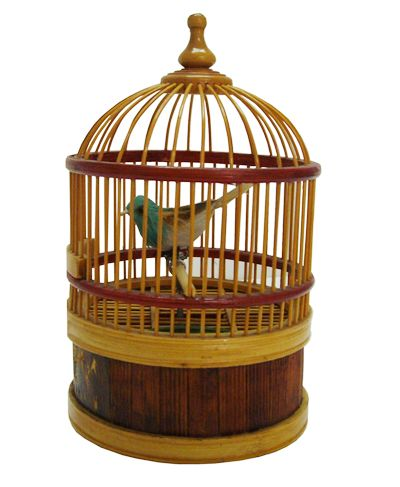 Mid-Century Modern Turquoise Pottery Trinket Box Bird Cages