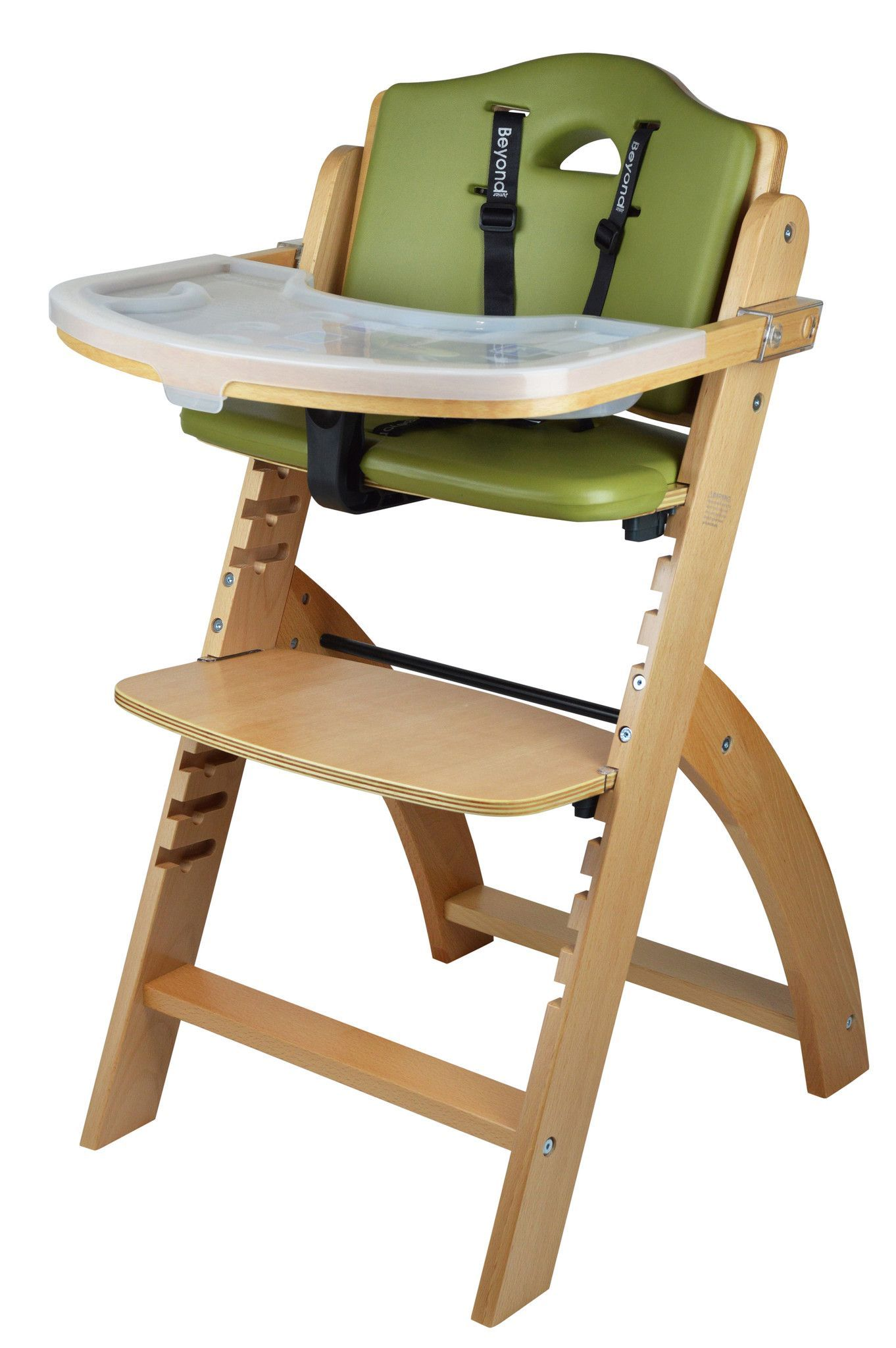 Beyond Junior Y Wooden High Chair Natural Olive Cushion With