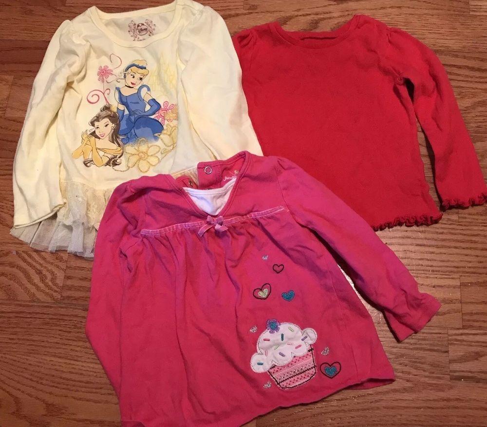 34e692cb699a Long Sleeve Girls Shirts Lot 24 Months Pink Red Yellow Princess ...