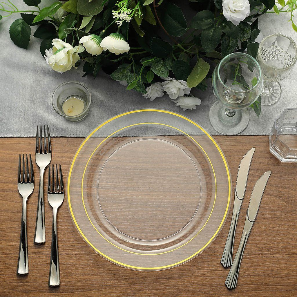 10 Pack 10 Gold Trimmed Clear Round Plastic Dinner Plates In 2020 Plastic Party Plates Disposable Plates Dinner Plates