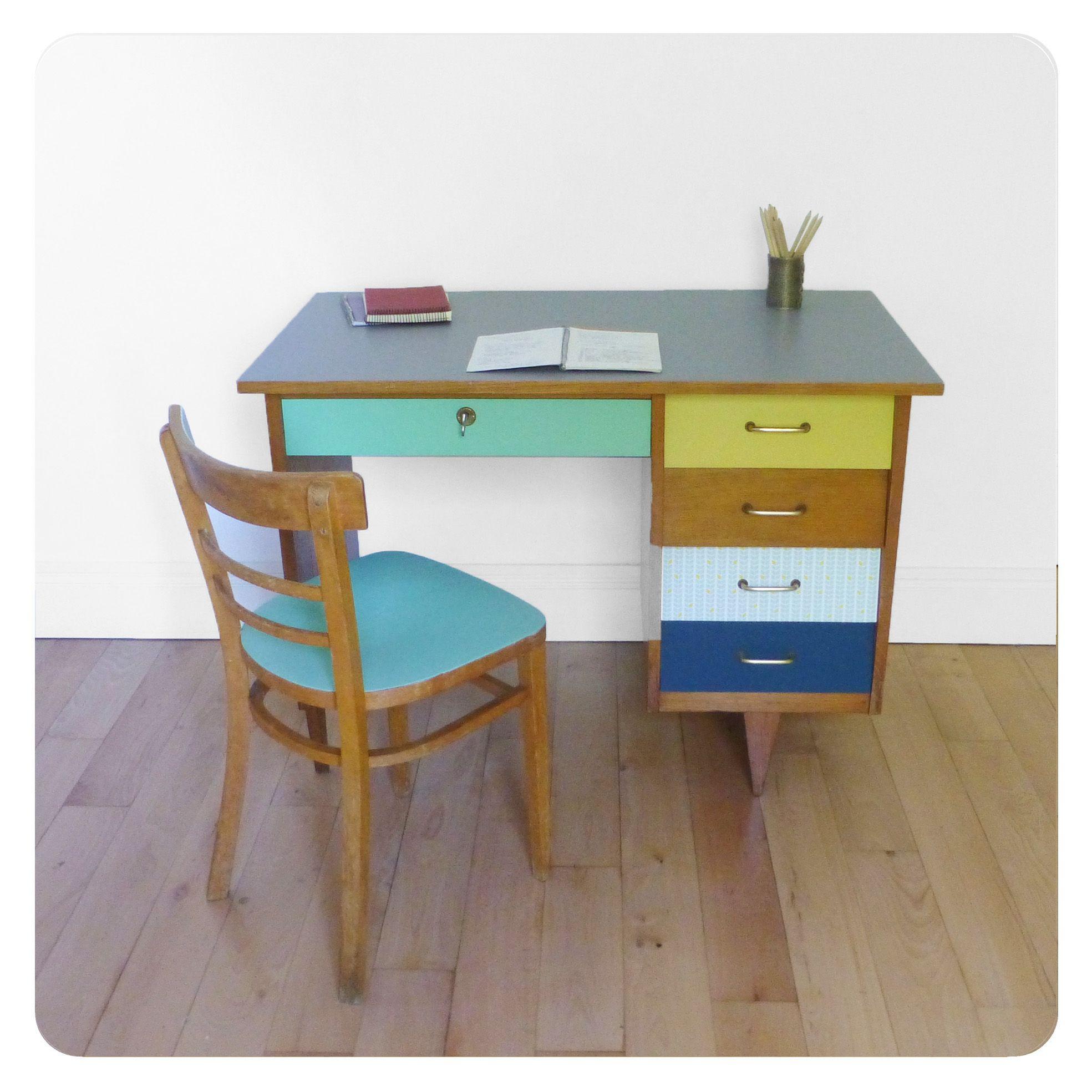 Bureau vintage bureau vintage relooking bureau et meuble bureau - Customiser un bureau ...