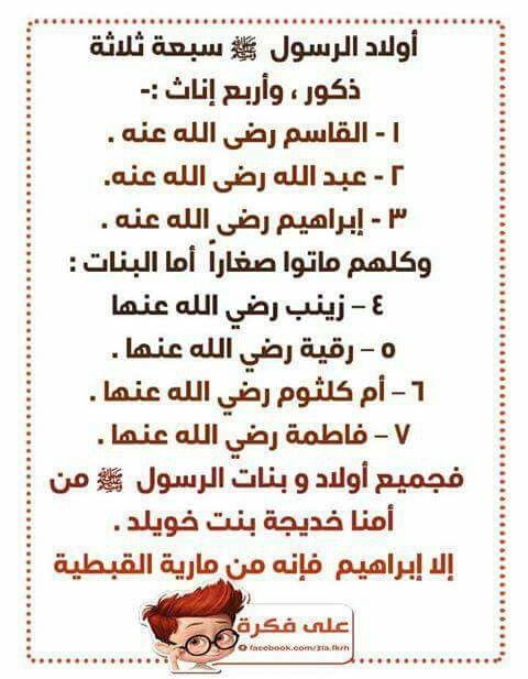 اولاد الرسول ﷺ Islam Words Learning