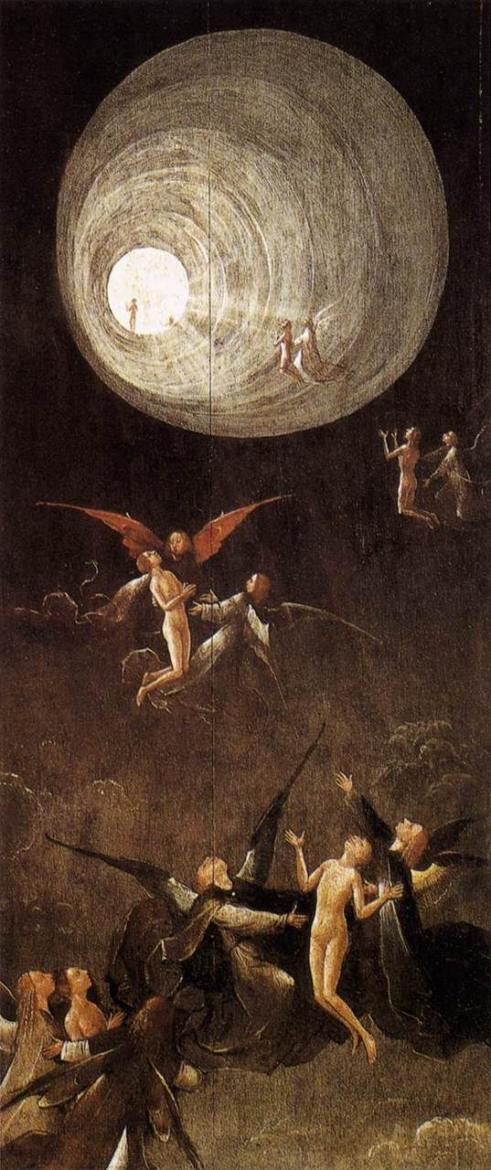 Hieronymous Bosch, Paradise: Ascent of the Blessed. 1500-1504.  Oil on panel, 86.5 x 39.5 cm.