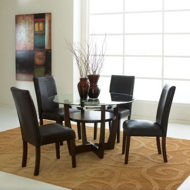 5 Pc Apollo Round Glass Top Table Dining Room Set Brown Dining Room Set Dining Room Table Set Standard Furniture