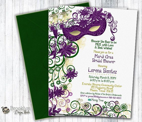 this is a custom masquerade or mardi gras party invitation design it is shown as a bridal shower invitation in the wording but it can be