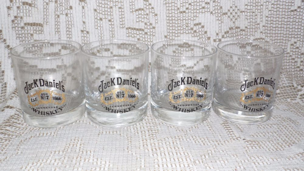 JACK DANIEL'S OLD NO. 7 WHISKEY LOW BALL GLASSES SET OF 4 GOLD DETAILING #JackDaniels