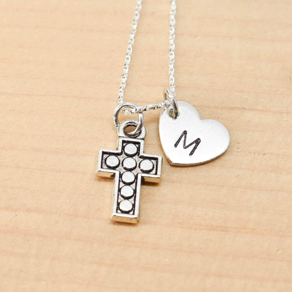 Cross Necklace, Cross Charm, Cross Pendant, Initial Necklace, Personalized Necklace, Sterling Silver, Charm Necklace, Bridesmaid Gift by JubileJewel on Etsy