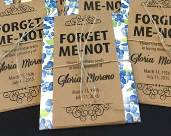 Personalized Memorial Forget Me Not Seed Packets - Perfect for funerals, memorial services and life celebrations to honor loved ones that have passed - Funeral Ideas - Memorial Service Ideas - Life Celebration Ideas - by Gloria's Garden