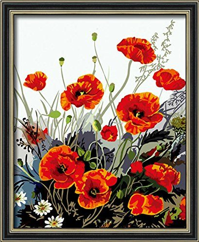 Paint by Number Kits New Release, Wooden Framed or Not Red Poppy 16*20 inches PBN Kit for Adults Girls Kids White Christmas Decor Decorations Gifts Diy Oil Painting by Numbers