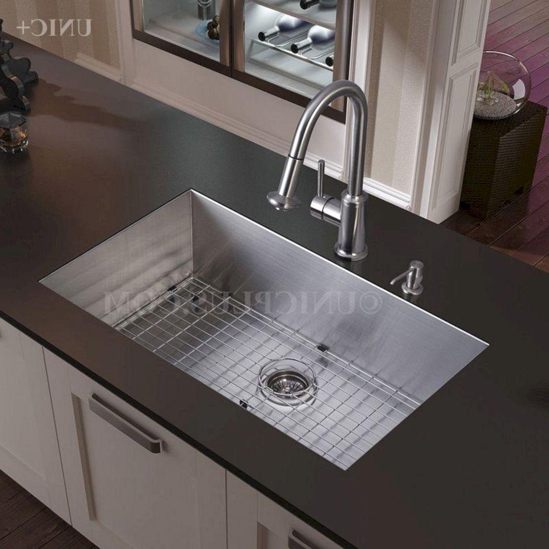 25 Super Modern Stainless Steel Kitchen Cabinet Design For Cozy Kitchen Ideas Kitchen Sink Interior Kitchen Cabinet Design Stainless Steel Kitchen Cabinets