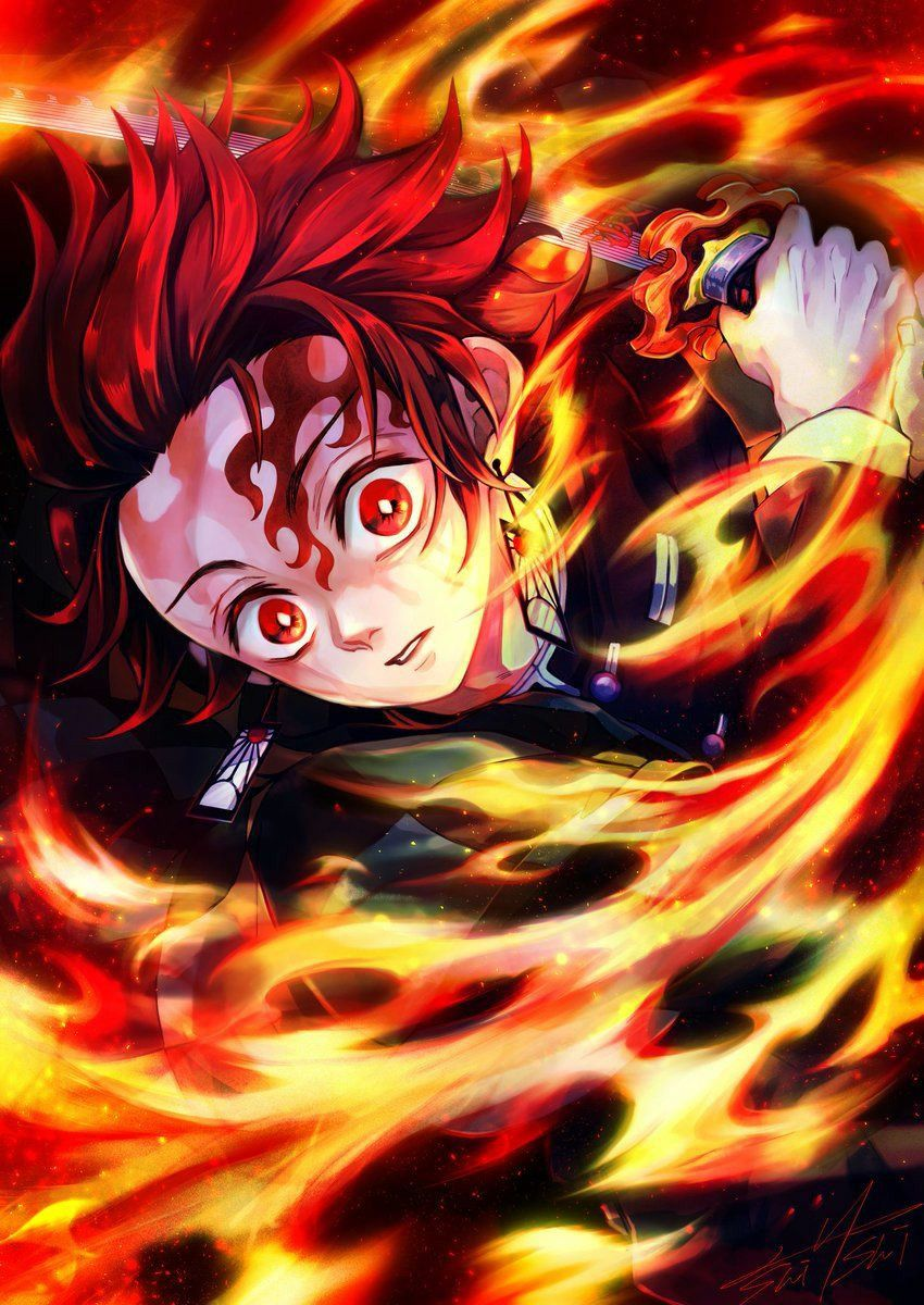 Iphone X Xr Xs 6 7 8 Plus Art Printed Phone Case Kamado Tanjirou Anime Art Beautiful Anime Demon Anime Wallpaper