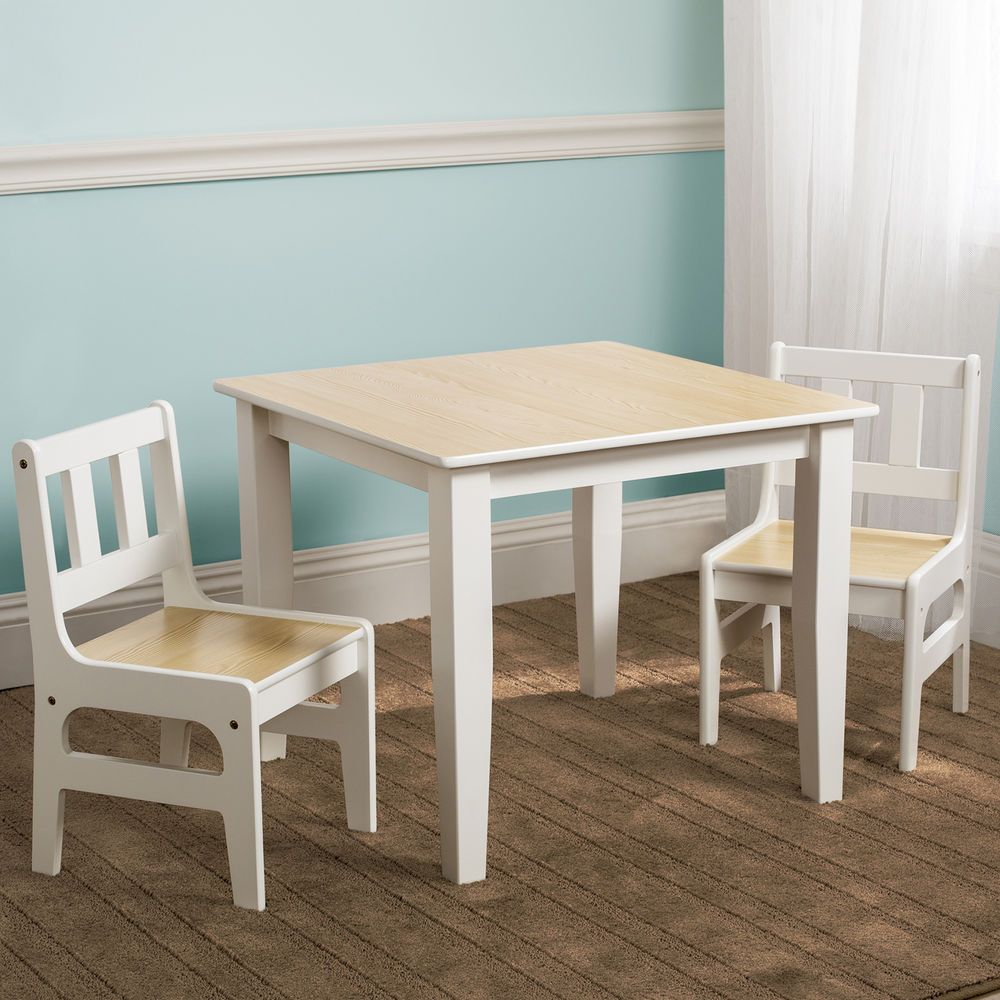 New Delta Children Natural Kids Wooden Table Chairs Set For