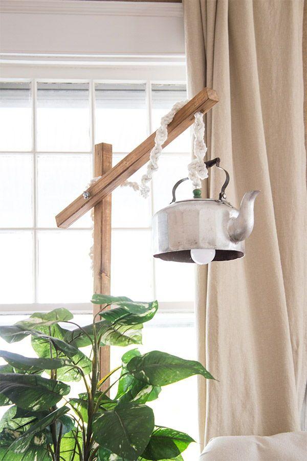 Diy Standing Lamp From A Teapot In 2020 Diy Floor Lamp Diy