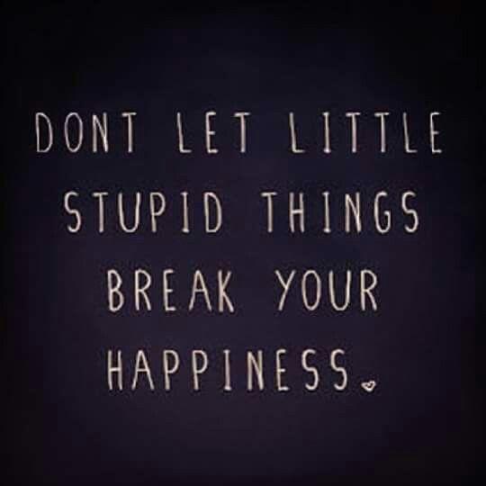 No dejes que pequeñas estupidas cosas rompan tu felicidad