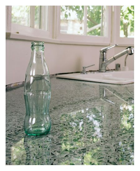 Vetrazzo countertops - Made from 85% recycled glass, cement, pigment, binder and other recyclable materials. I grew up in a house were the floors were made of this, so much fun to slide on :)
