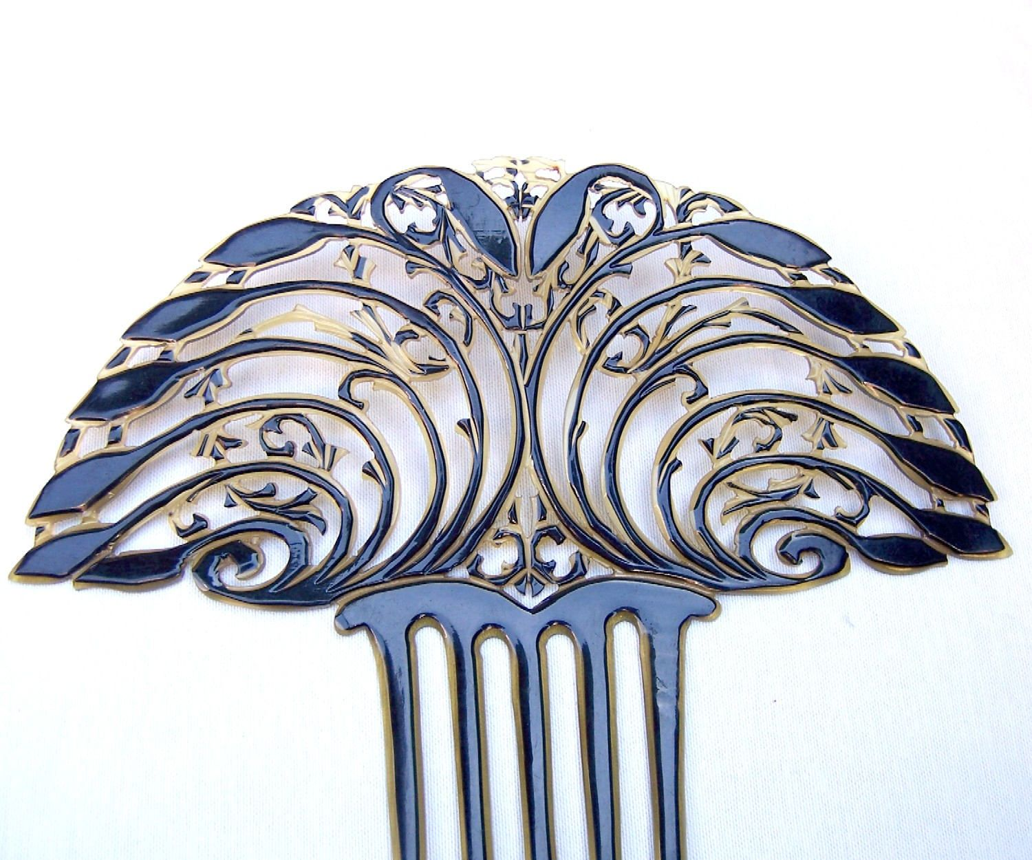 Spanish Hair Styles: Art Deco Hair Comb Fan Shape Spanish Style Decorative Comb