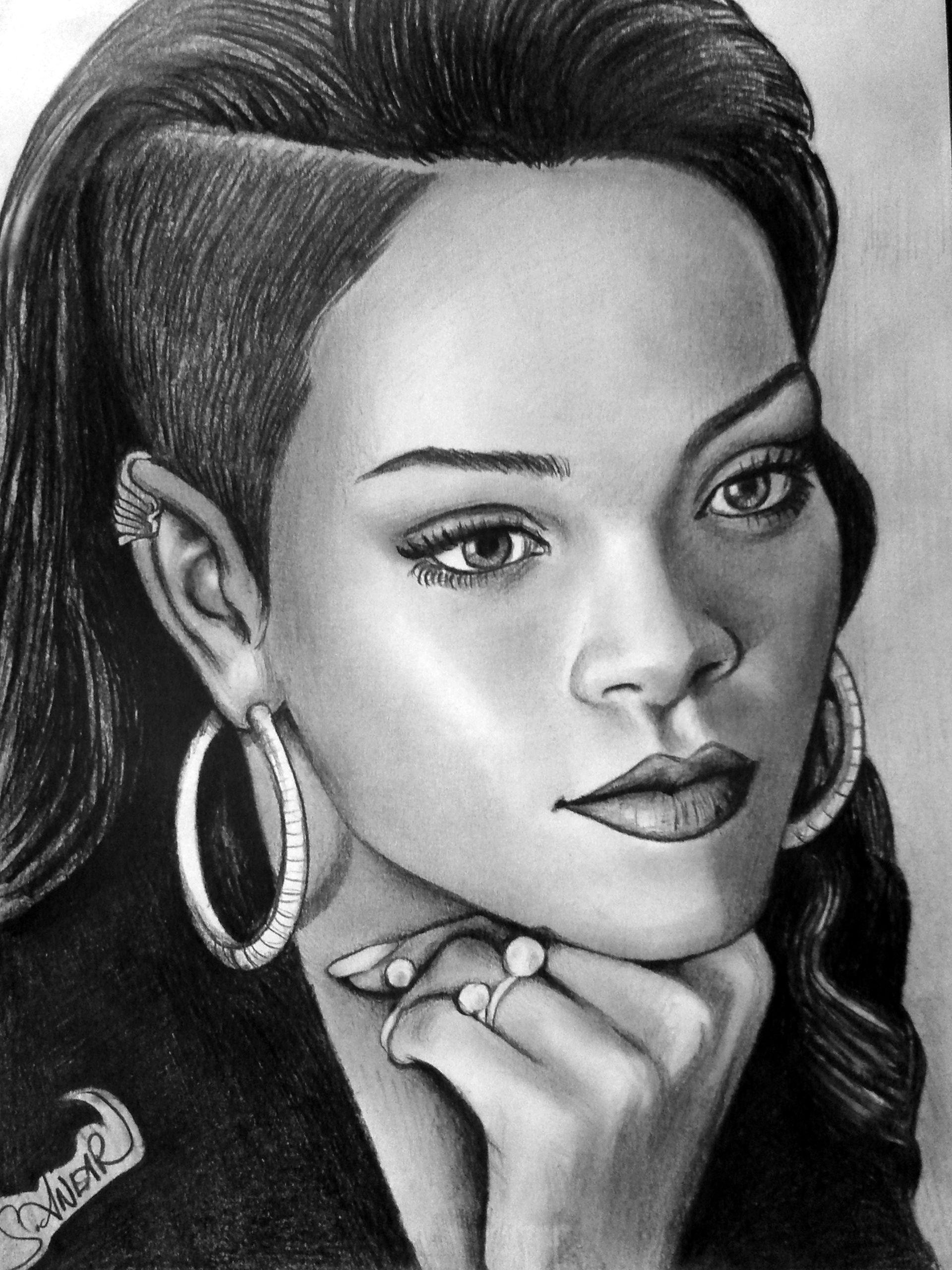 Charcoal Drawing Rihanna Tetovani Pinterest