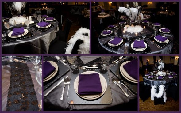Black And White And Bling Table Setting | Purple/bling Centerpiece