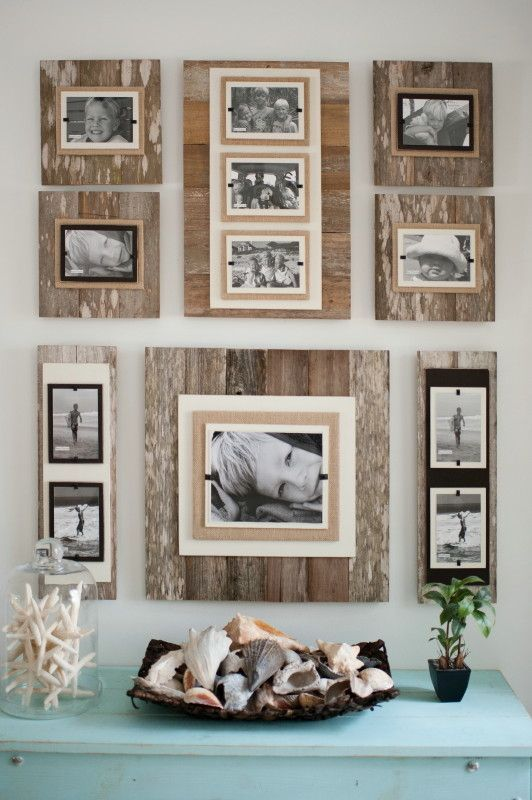 Reclaimed Wood 22 X 22 Frame 8 X 10 Photo  Brown   Classy Country.  Distressed Frame Wall Collage,behind The Couch Maybe