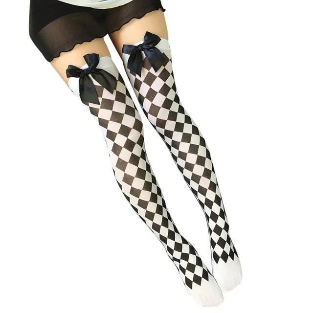 a1e6405f41218 Sexy Cosplay Striped Knee stockings Girl Meias Printed Thigh stockings  Female Over The Knee High Socks Pantyhose Skeleton F4