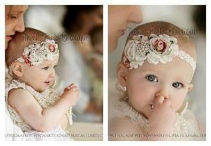 Ivory Headband,baby girl headband,Newborn Headband, shabby chic ...