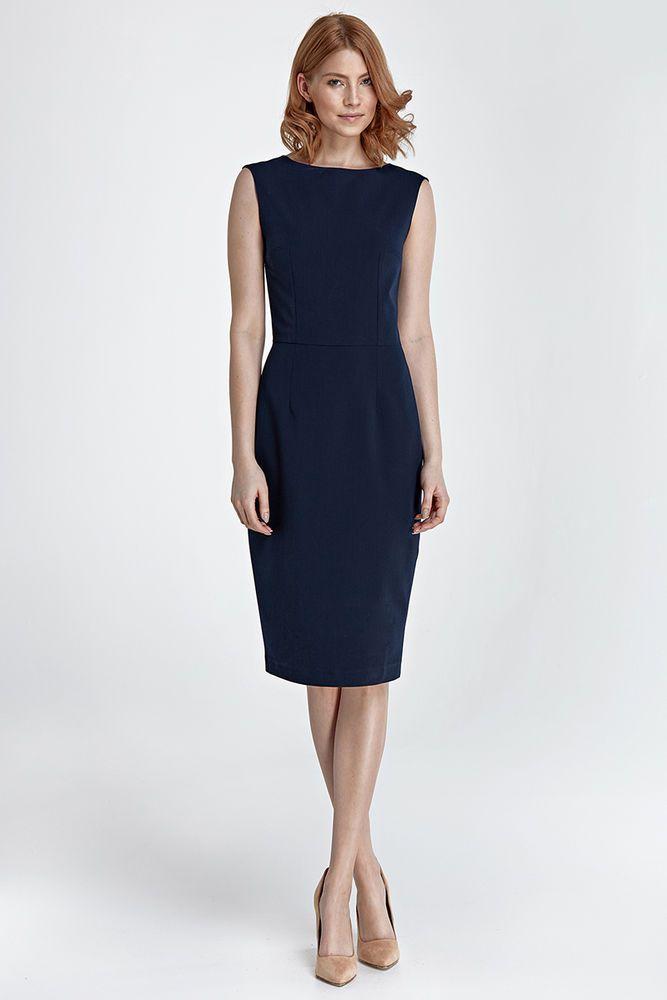 ddaab71e676 Robe habillée femme sans manche bleu foncé mode NIFE S 36 M 38 L 40 ...