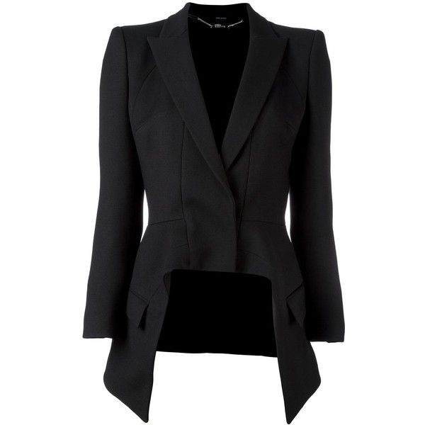 ae41df363d09 Alexander McQueen high low blazer found on Polyvore featuring outerwear,  jackets, blazers, coats, overwear, black, long sleeve blazer, alexander  mcqueen, ...