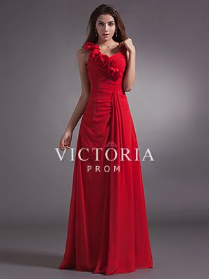 Red A-Line Floor Length Chiffon Sleeveless Asymmetrical Prom Dress - US$ 88.19 - Style P1553 - Victoria Prom