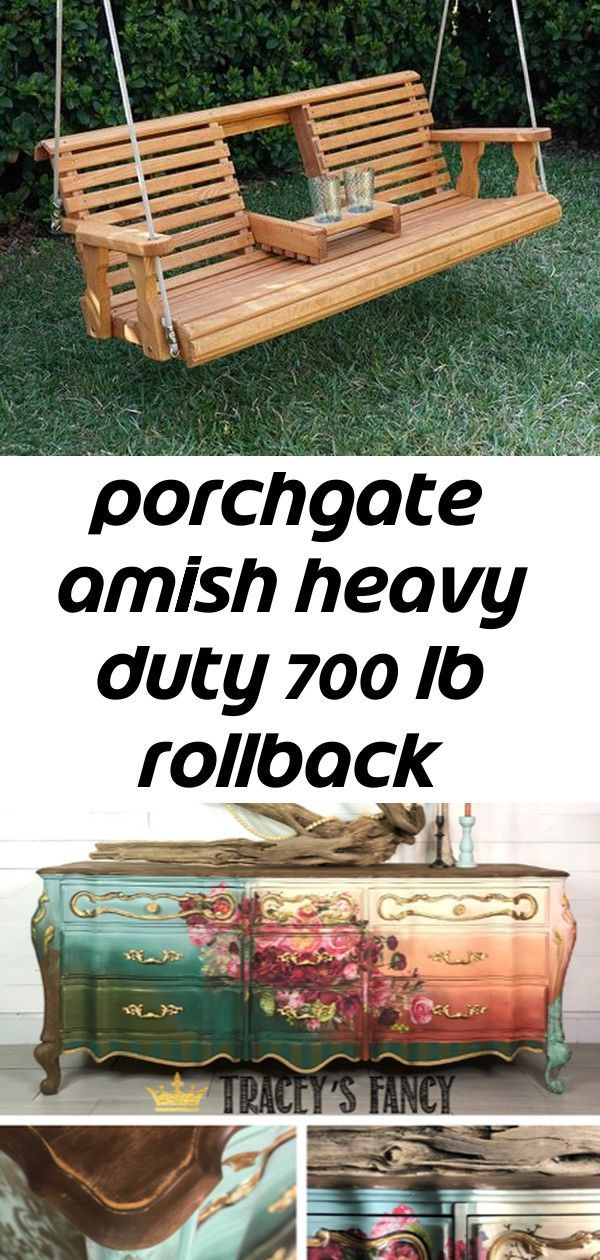 Porchgate amish heavy duty 700 lb rollback console treated porch swing with hanging ropes 8 Porchgate amish heavy duty 700 lb rollback console treated porch swing with ha...