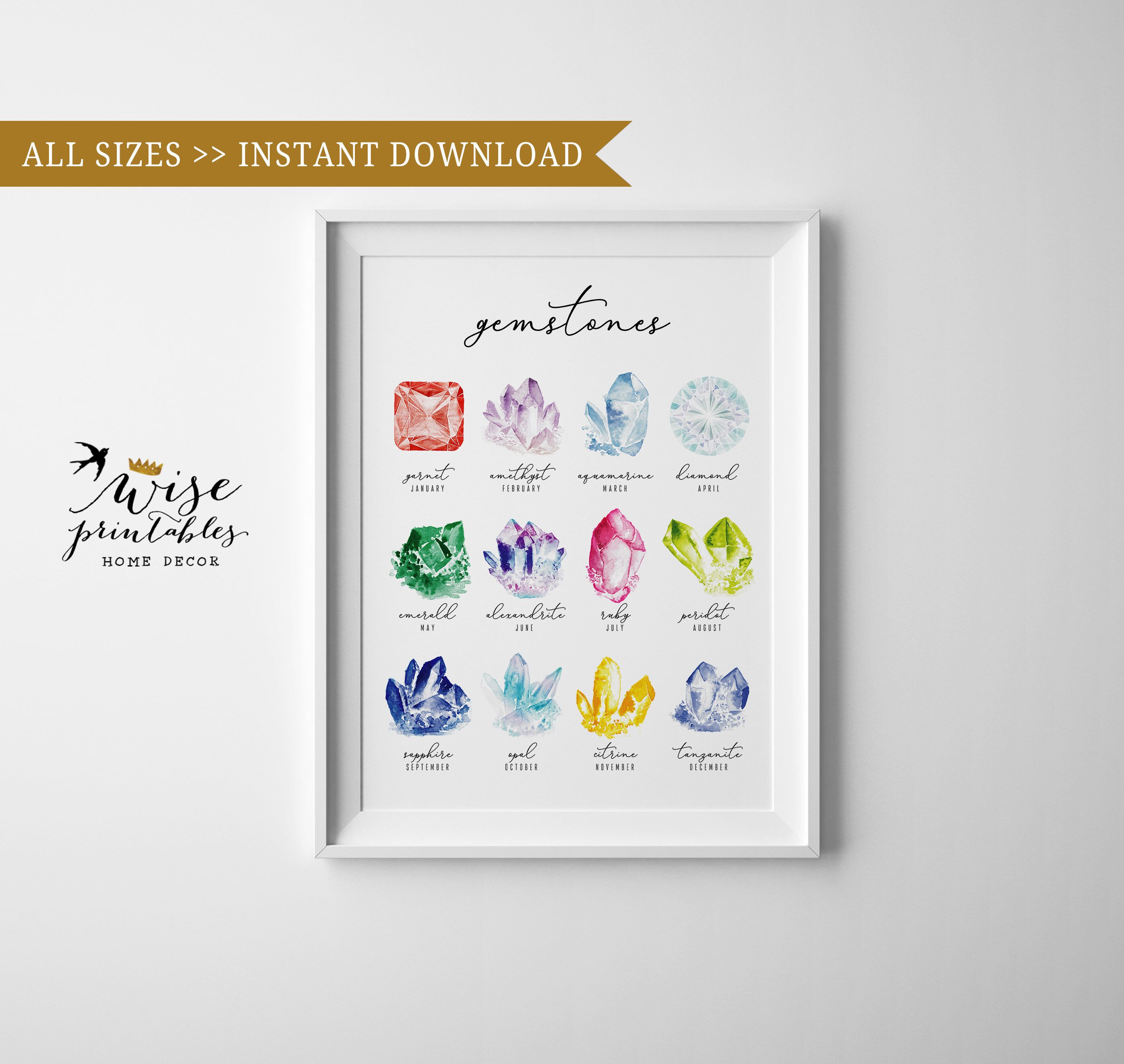 Birthstone Chart Print Watercolor Crystal And Gems