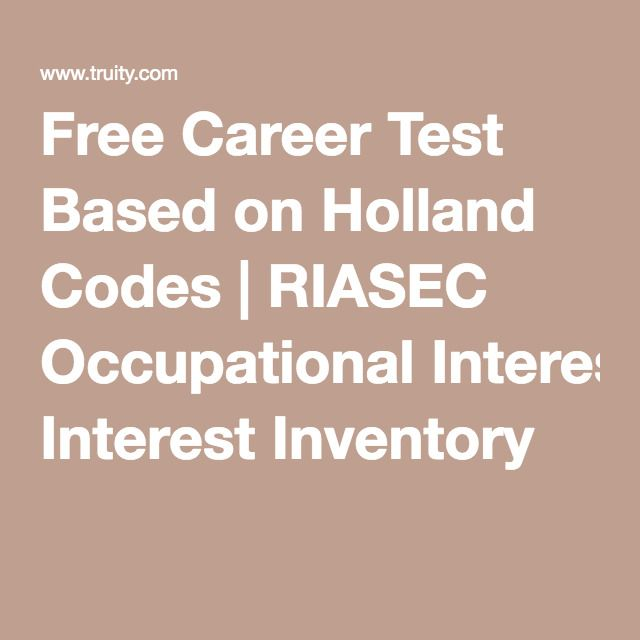 Free Career Test Based on Holland Codes RIASEC Occupational