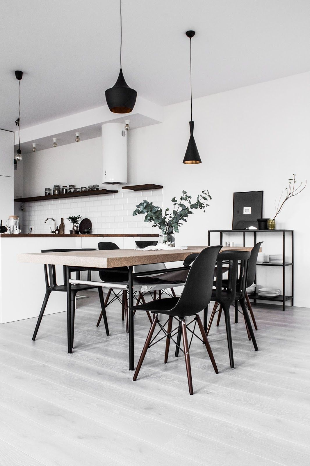 Scandinavian Apartment Black And White Interior Kitchen With Eames Chairs And Tom Dixon Lights Minimalist Dining Room Dining Room Design Simple Living Room