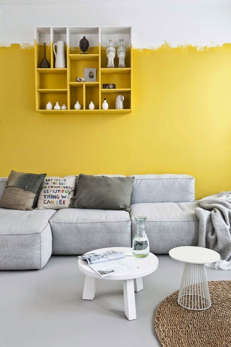 Let\'s the sunshine in | Yellow accent walls, Gray floor and Yellow ...