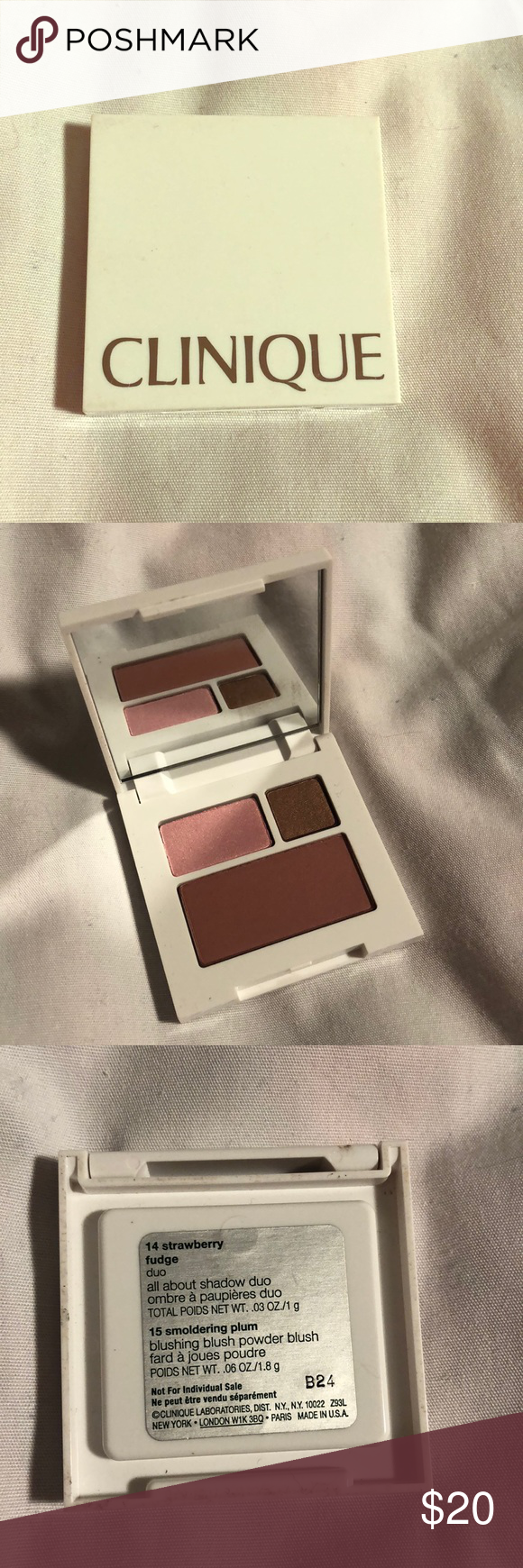 Clinique eyeshadow and blush palette Strawberry fudge duo, smoldering plum blush Clinique Makeup