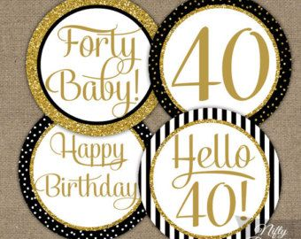 Black   Gold Glitter 40th Birthday Cupcake Toppers   Fortieth Bday Party  Printable   Elegant DIYBlack   Gold Glitter 40th Birthday Cupcake Toppers   Fortieth Bday  . Diy Centerpieces For 40th Birthday Party. Home Design Ideas