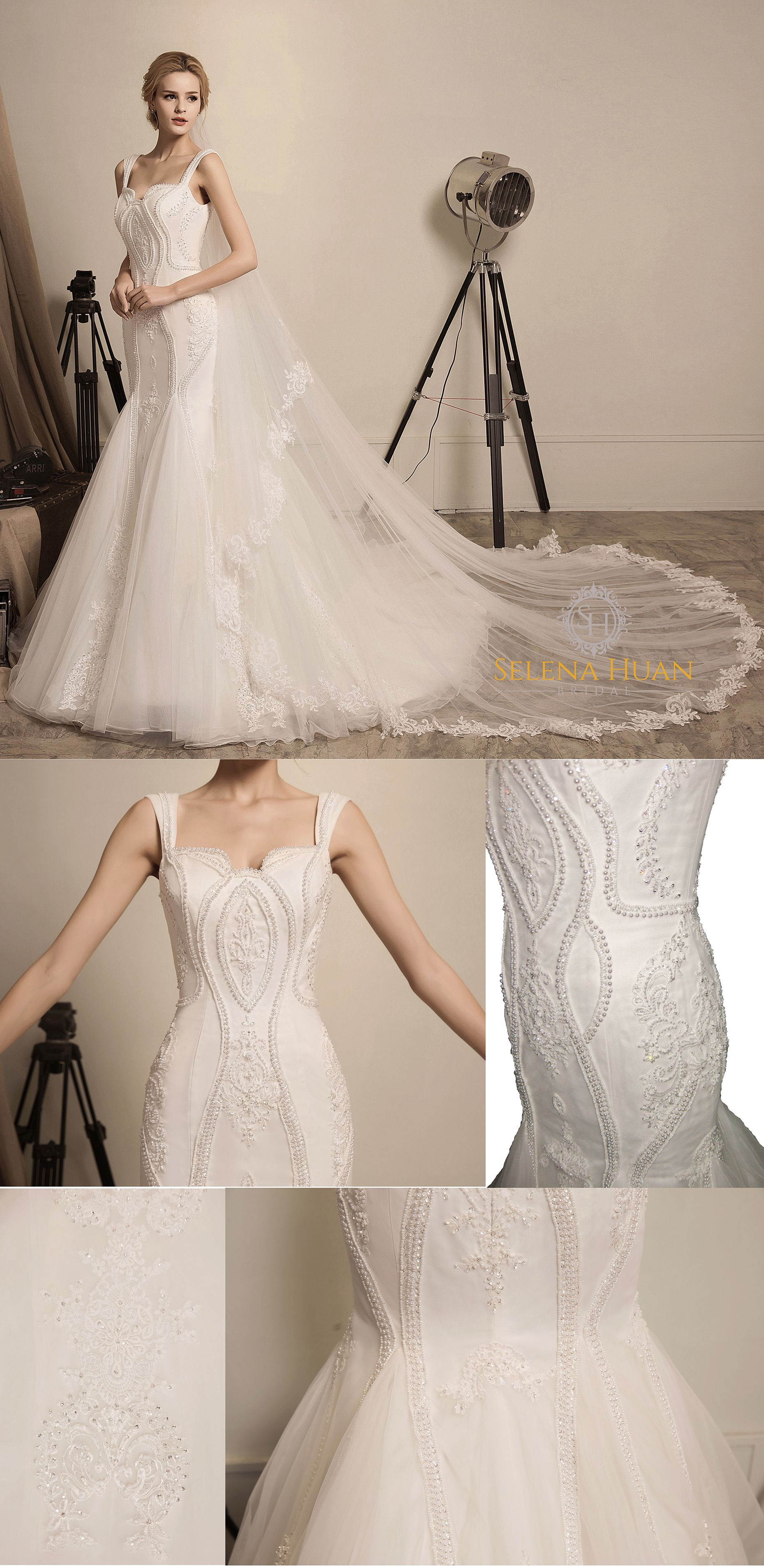 ffed8aed1441 This dress is fully-embroidered with elegant ivory lace beaded with  iridescent sequins and pearls. Its unique U-shape neckline and hollowed  lower back ...