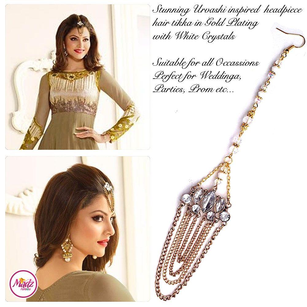Madz Fashionz UK Urvashi Rautela Kundan Stones Gold Maang Tikka Hair ...